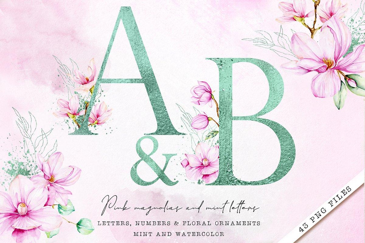 Mint Monogram letters with magnolias