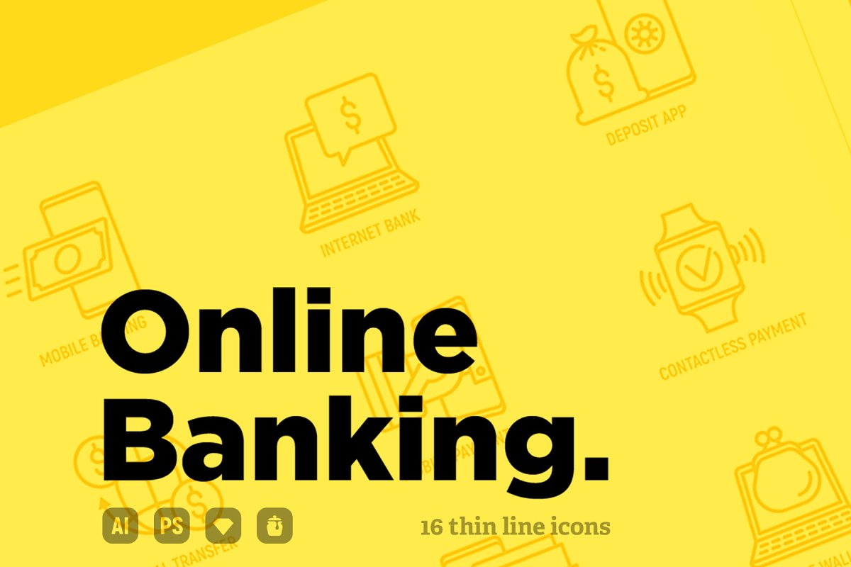 Online Banking | 16 Thin Line Icons