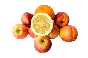Lemon slice, orange, apples