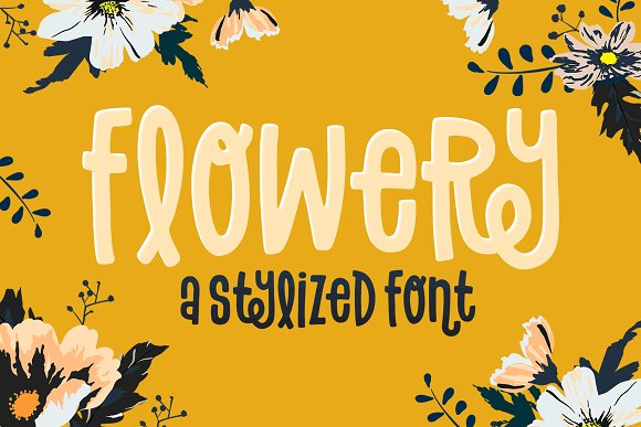 Flowery Font in Sans-Serif Fonts - product preview 5