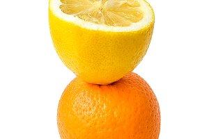 Lemon slice and orange fruit