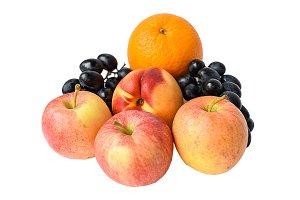 Fresh juicy fruits isolated on white
