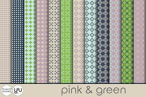Geometric digital paper:PINK & GREEN