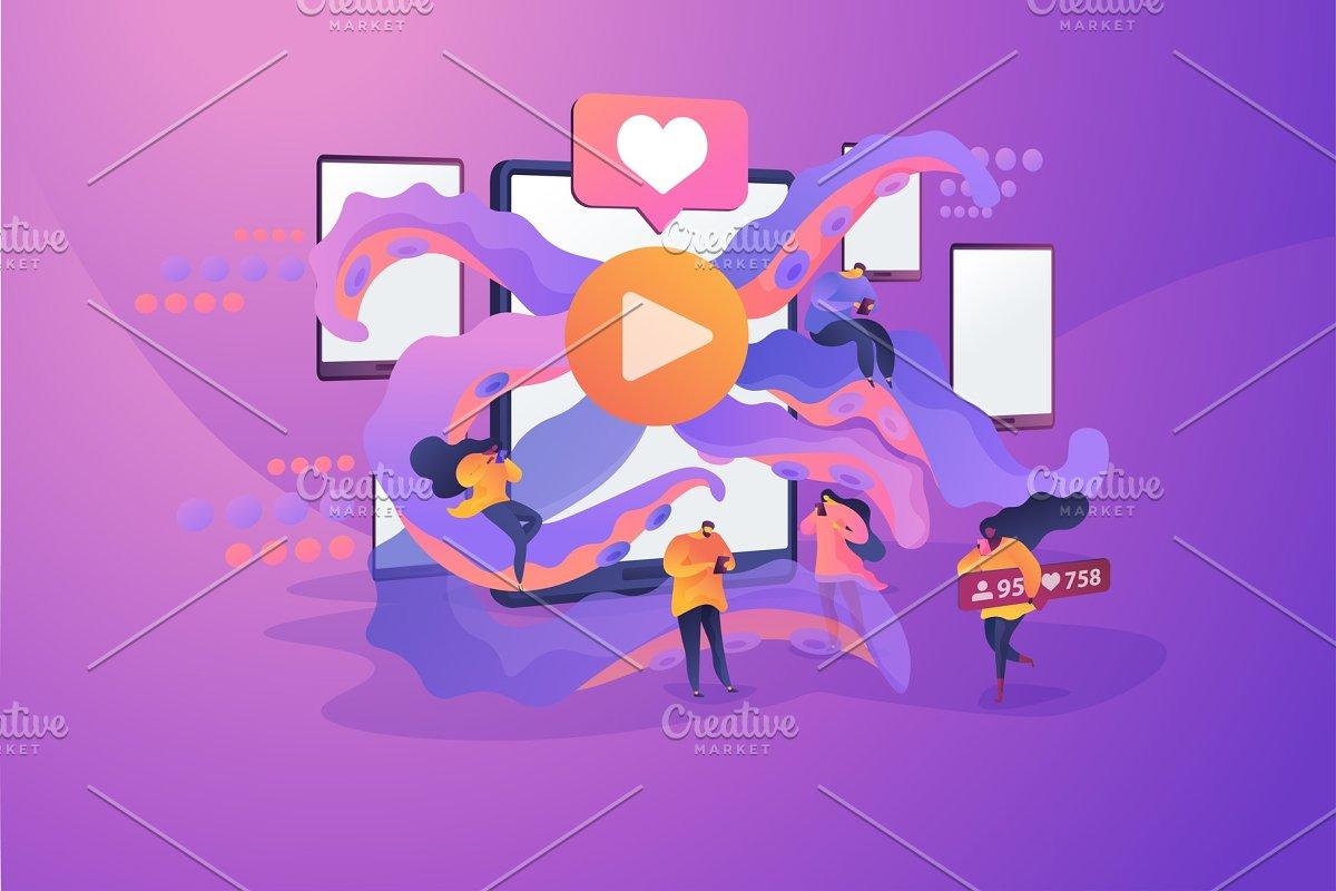 Smartphone addiction concept vector