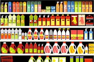 Household cleaning items background