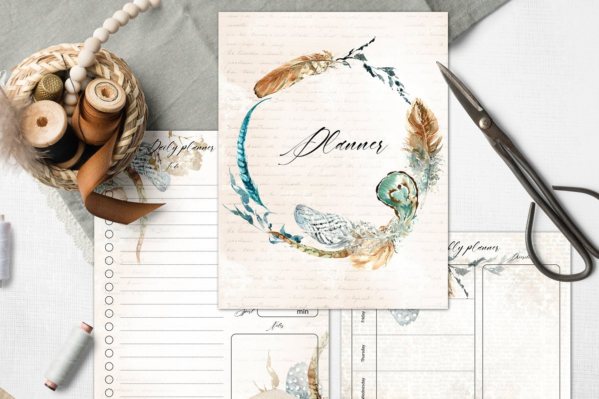 Planner with feathers, boho style