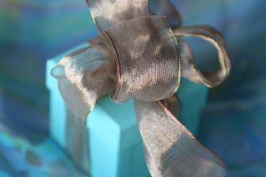Golden ribbon close-up. Tiffany