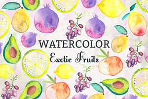Watercolor Exotic Fruits
