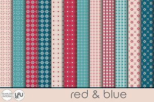 Geometric digital paper RED and BLUE
