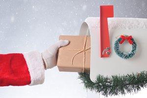 Santa Package Mailbox Snowy