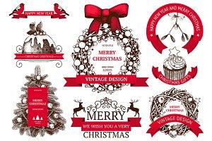 Vintage Christmas design elements