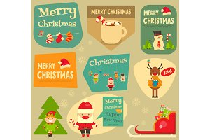 Set of Cute Christmas Stickers