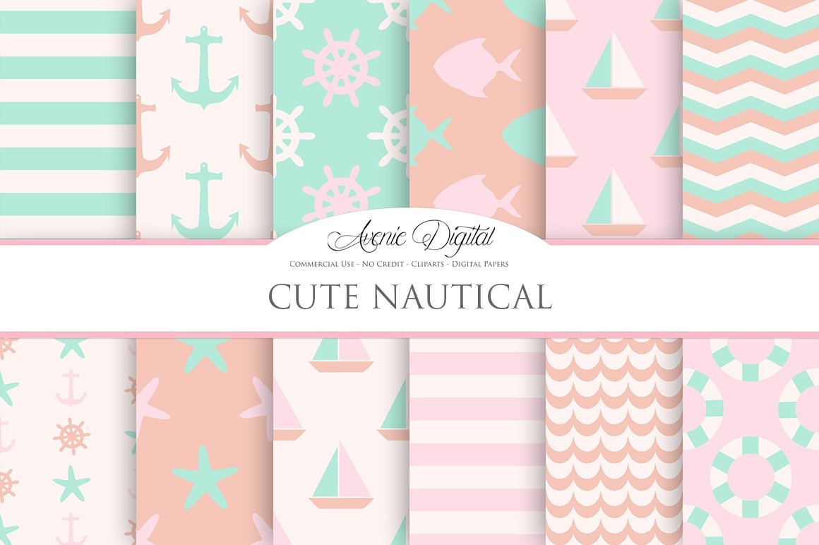 cute nautical digital background graphic patterns creative market