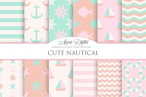 Cute nautical Digital Background