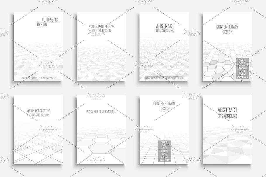 White abstract futuristic posters