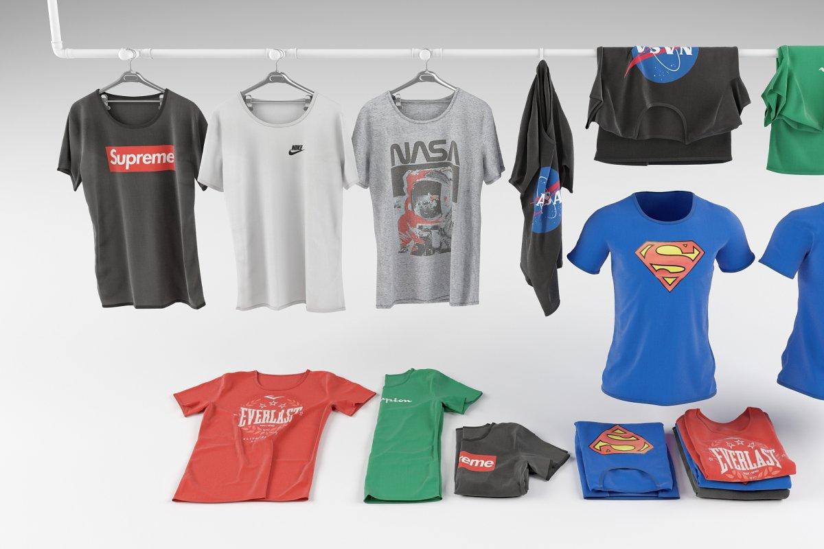 T-shirt collection 3D model