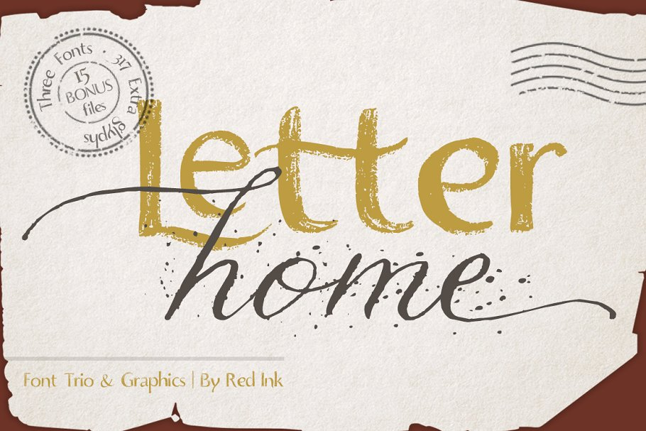 Letter Home. Font Trio + Graphics.