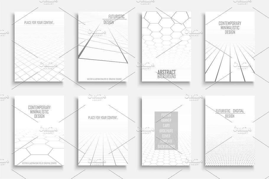 White abstract futuristic templates