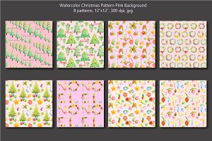 Watercolor Christmas Pink Pattern