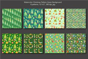 Watercolor Christmas Green Pattern