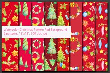 Watercolor Chritmas Pattern Red