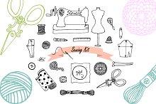 Hand drawn Sewing set