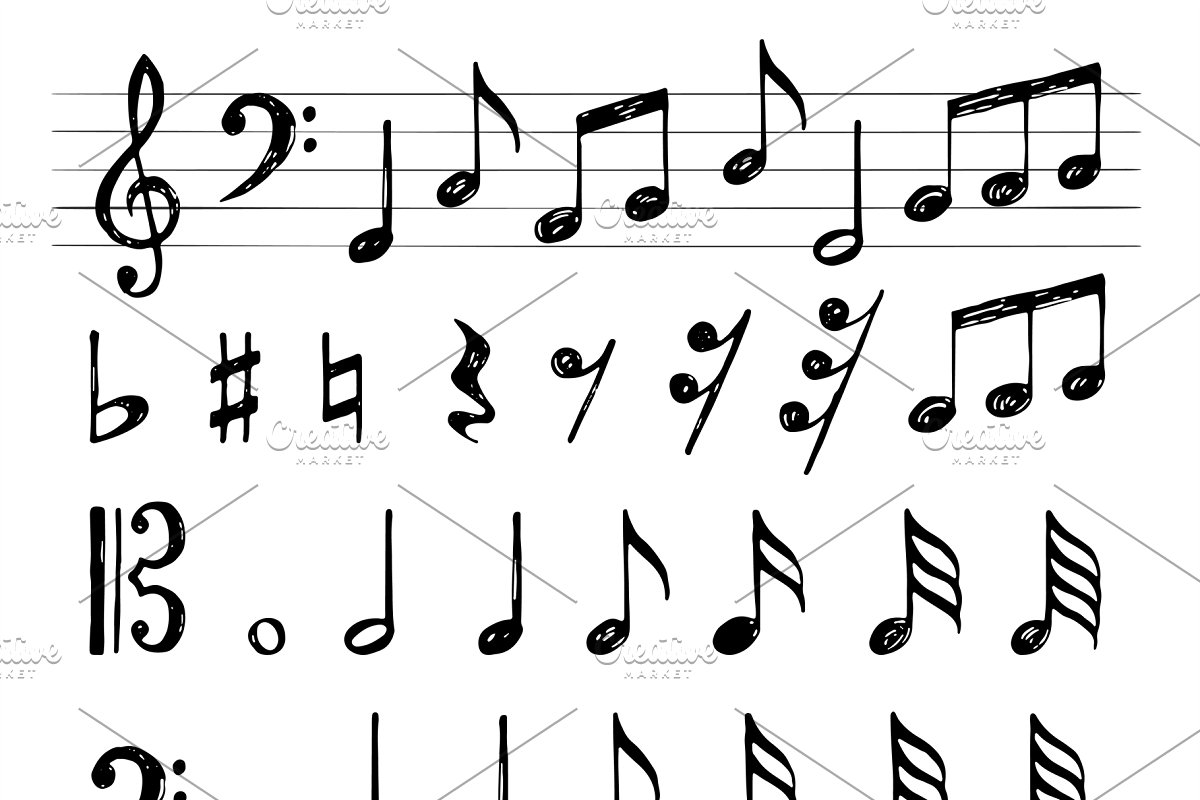 Music notes collection  Treble clef