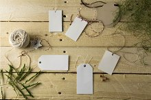 Set of empty paper price tags, woode