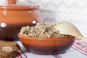 Boiled buckwheat porridge in a ceram