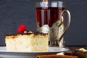 Cake with chocolate cream