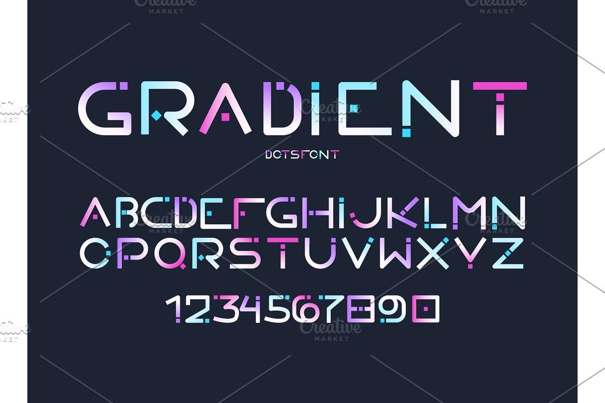 English alphabet gradient letters