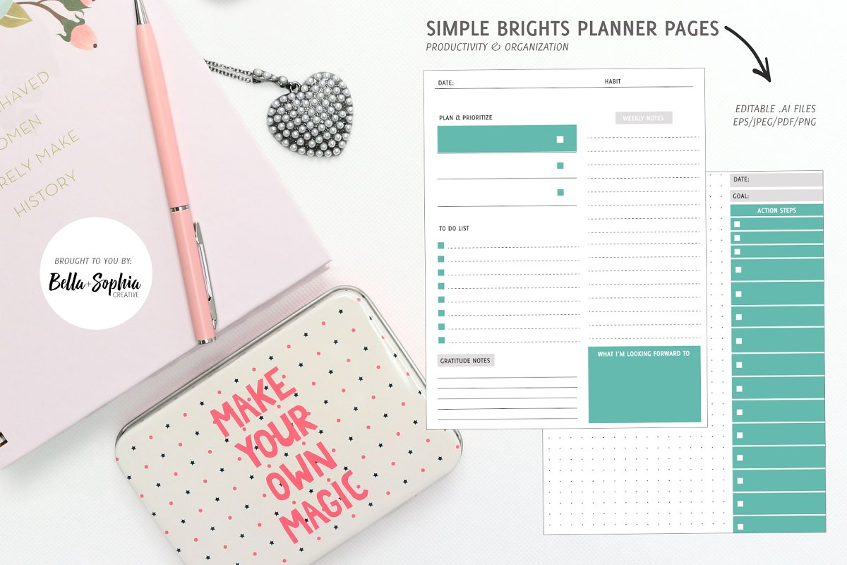 EDITABLE: Brights Planner Pages