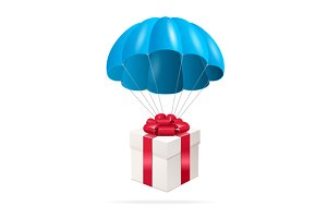 Parachute with a Gift Box. Vector