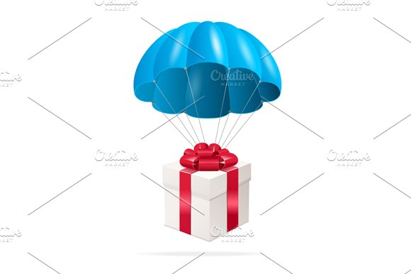 Parachute with a Gift Box. Vector - Illustrations