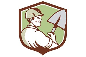 Construction Worker Spade Crest Retr