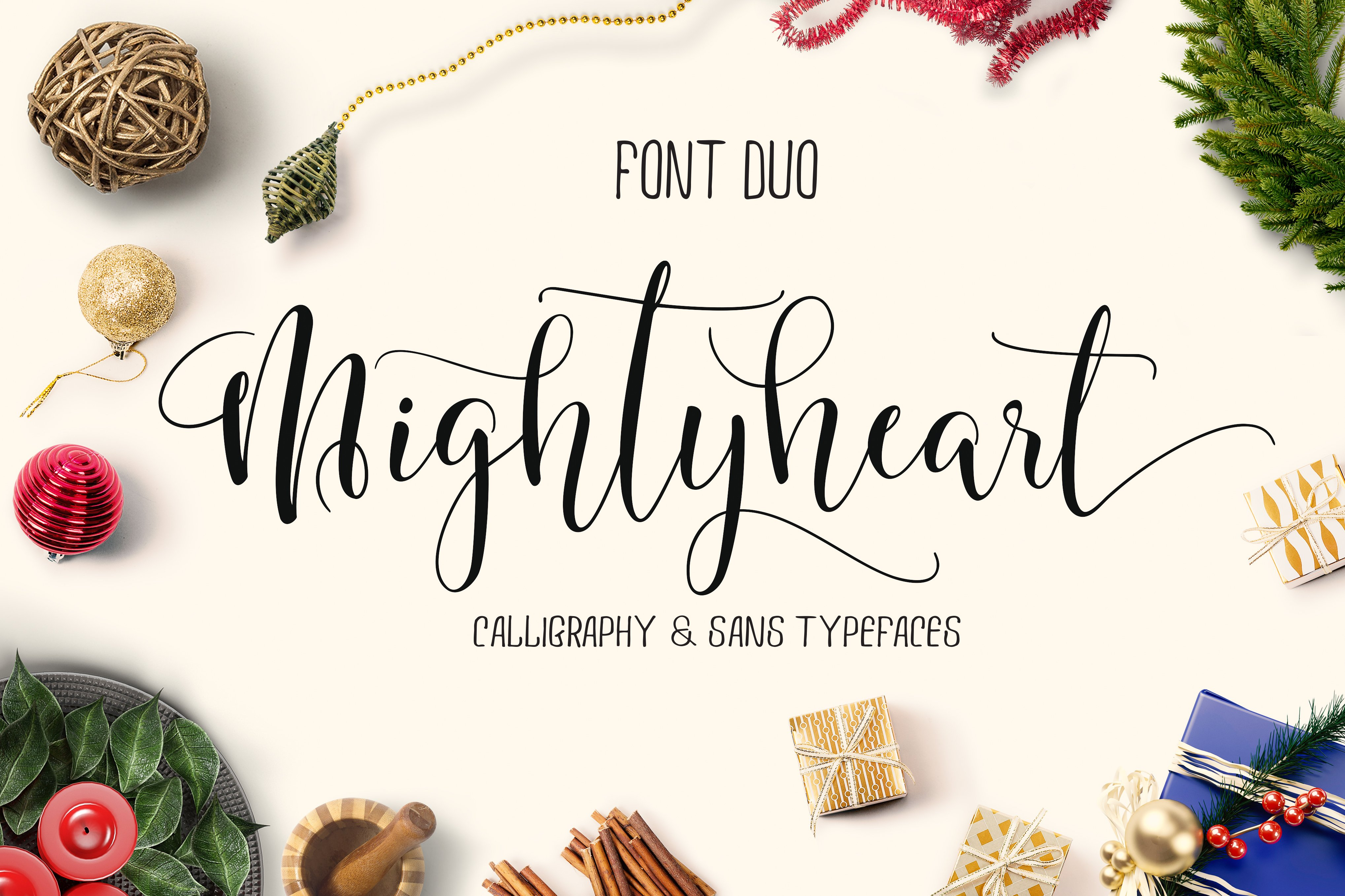mighty heart  font duo  Script Fonts  Creative Market