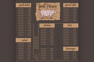 Cafe menu grill template