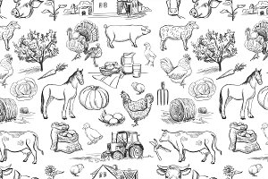 seamless pattern with farm items