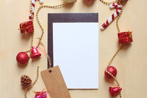 Blank greeting card and christmas