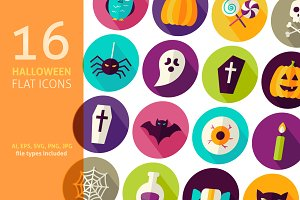Halloween Scary Vector Flat Icons