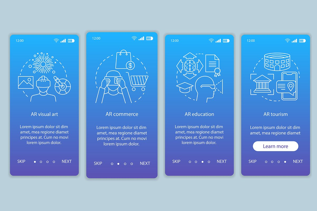 Augmented reality industry app pages