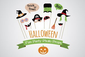 Halloween party photo props