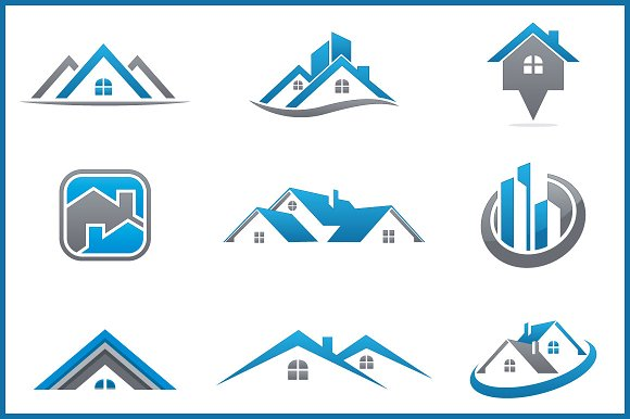 Real estate bundle 9 logos logo templates creative market for Design company usa