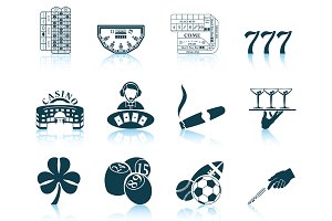 Set of 12 Gambling Icons