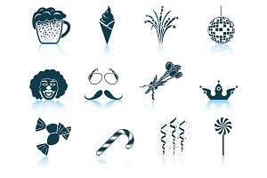 Set of 12 Celebration Icons.