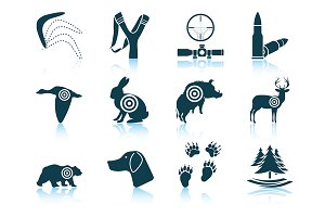 Set of 12 Hunting Icons