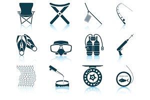 Set of 12 Fishing Icons