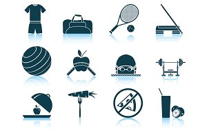 Set of 12 Fitness Icons
