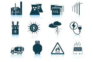 Set of 12 Energy Icons.