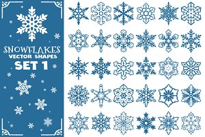 Decorative Snowflakes Shapes Set 1